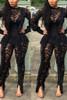 BrytCouture One-piece Tassel Design Black Lace Jumpsuit