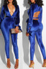 BrytCouture One-piece Elegant Hollowed-out Skinny Blue Jumpsuit