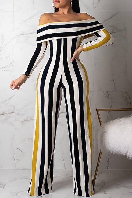 BrytCouture One-piece Black Casual Striped Jumpsuit
