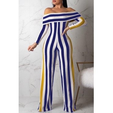 BrytCouture One-piece Blue Casual Striped Jumpsuit