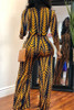 BrytCouture One-piece African Floral Printed Yellow Blending Jumpsuit