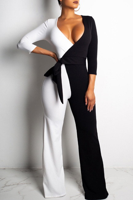 BrytCouture One-piece Euramerican Color-lump Patchwork Twilled Satin  Jumpsuit
