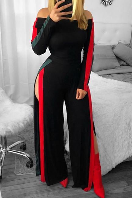 BrytCouture One-piece Leisure Bateau Neck Slit Design Black Polyester Jumpsuit