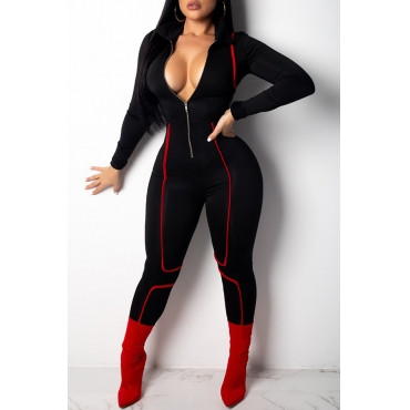 BrytCouture Casual Long Sleeves Zipper Black Skinny One-piece Jumpsuit