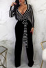 BrytCouture One-piece Euramerican V Neck Striped Black Jumpsuit