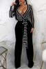 BrytCouture One-piece Euramerican V Neck Striped Black Jumpsuit