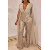 BrytCouture One-piece Trendy Sequined Apricot Blending Jumpsuit