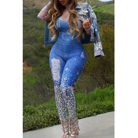 BrytCouture One-piece Stylish Printed Blue Knitting Jumpsuit