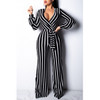 BrytCouture One-piece Casual Striped Black Jumpsuit