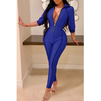 BrytCouture One-piece Skinny Zippers Design Twilled Satin Jumpsuit -Blue