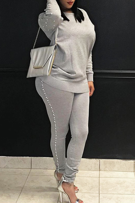 BrytCouture Two-Piece Casual Round Neck Pearl Decoration Grey Pants Set