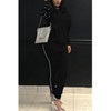 BrytCouture Two-Piece Casual Round Neck Pearl Decoration Black Pants Set