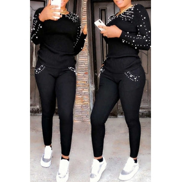 BrytCouture Casual Nail Bead Design Black Blending Two-piece Pants Set