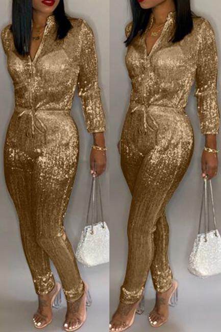 BrytCouture One-piece Sweet Zipper Design Jumpsuit  Gold