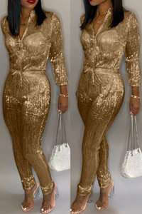 BrytCouture One-piece Sweet Zipper Design Jumpsuit  Gold