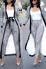 BrytCouture Casual Grid Printed Knitting Two-piece Pants Set - Grey
