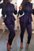 BrytCouture One-piece Casual Long Sleeves Plaids Deep Blue Jumpsuit