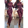 BrytCouture One-piece Casual Long Sleeves Plaids Deep Wine Red Jumpsuit