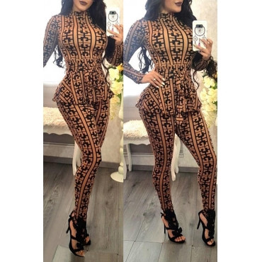 BrytCouture One-piece Casual Long Sleeves Plaids Deep Yellow Jumpsuit