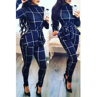 BrytCouture One-piece Casual Long Sleeves Plaids Blue Jumpsuit