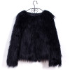 BrytCouture Casual Long Sleeves Black Faux Fur Coat