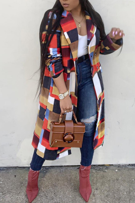 BrytCouture Trendy Patchwork Red Trench Coats
