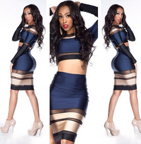 2 Piece Bandage Celebrity Style BodyCon Patchwork Dress