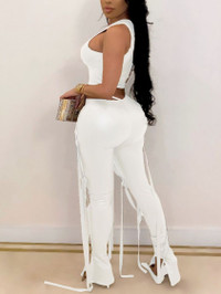 BrytCouture Chic Tassel Design Asymmetrical White Two Piece Pants Set