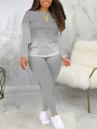 BrytCouture Casual O Neck Gradient Grey Two Piece Pants Set