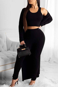 BrytCouture Trendy Basic Skinny Black Three-piece Pants Set