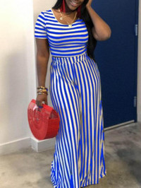 BrytCouture Casual O Neck Striped Loose Blue Two Piece Pants Set