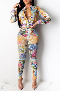 BrytCouture Party Zipper Design Multicolor Two-piece Pants Set