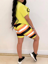 BrytCouture Trendy Letter Print Striped Yellow Two Piece Shorts Set