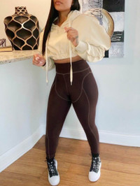 BrytCouture Sportswear Hooded Collar Dropped Shoulder Brown Two Piece Pants Set