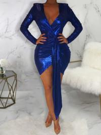 BrytCouture Sexy Deep V Neck Asymmetrical Blue Mini Dress