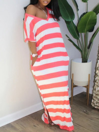BrytCouture Casual V Neck Striped Side Slit Red Maxi Dress