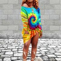 BrytCouture Street O Neck Tie-dye Blue Knee Length Dress