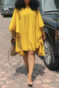 BrytCouture Chic Loose Flounce Design Yellow Knee Length Dress