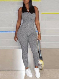 BrytCouture Casual U Neck Basic Skinny Grey One-piece Jumpsuit