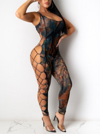 BrytCouture Sexy Backless Bandage Hollow-out Design Blue One-piece Jumpsuit