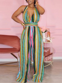 BrytCouture Casual Backless Striped Print Multicolor One-piece Jumpsuit