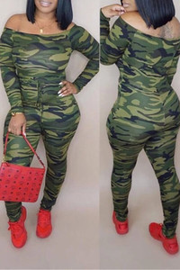 BrytCouture Casual Camo Print Army Green One-piece Jumpsuit