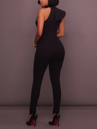 BrytCouture Sweet One Shoulder Flounce Design Black One-piece Jumpsuit