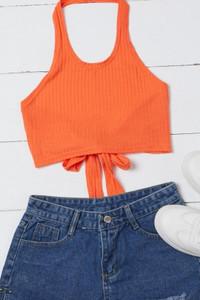 BrytCouture Casual Lace-up Orange Camisole