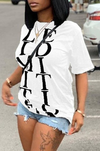 BrytCouture Casual Letter White T-shirt