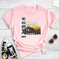 BrytCouture Leisure O Neck Letter Print pink  T-shirt