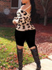 BrytCouture Street Lace-up Leopard Print Cross-over Design Sweater