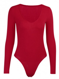 BrytCouture Casual V Neck red Bodysuit
