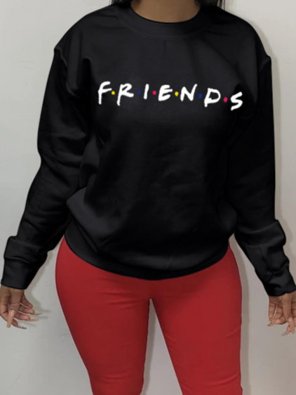 BrytCouture Casual O Neck Letter Print Black Hoodie