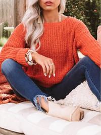 BrytCouture Casual O Neck Loose Orange Sweater